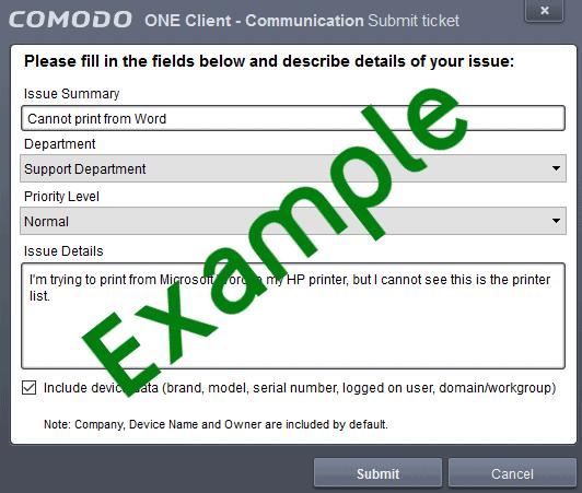 Create Desktop Ticket - Example